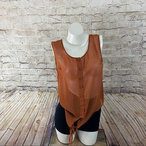 Edge orange chiffon sleeveless button down top L